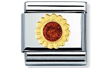 Nomination stainless steel and 18ct gold Sunflower Classic Charm with Enamel