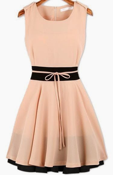 What to wear to a summer wedding!        Beautiful Blush + Black Dress      Grey Top with a Big Bow      Carlos Santana Sandals      Peachy...