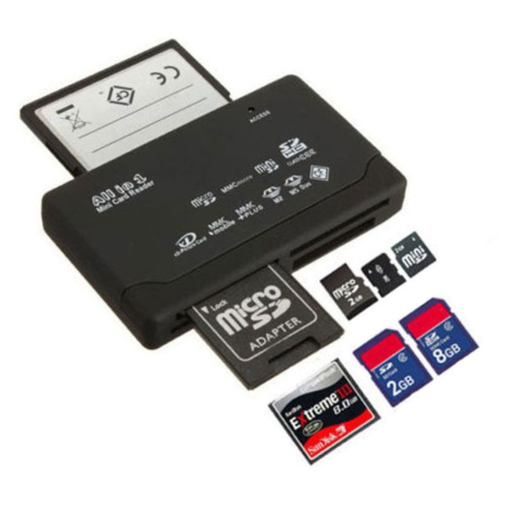 High Quality All in One Memory Card Reader USB External SD SDHC Mini Micro M2 MMC XD CF Works with XP/Vista/Win 7