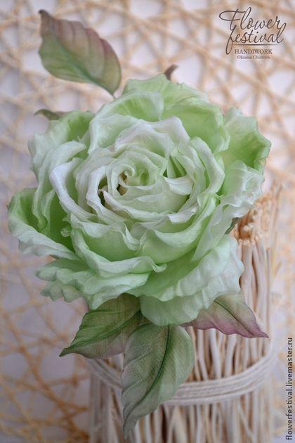 Silkflowers. Цветы ручной работы. Ярмарка Мастеров - ручная работа Оксаны Чистовой. Роза из шелка Green Rose. Цветы из шелка. Handmade.