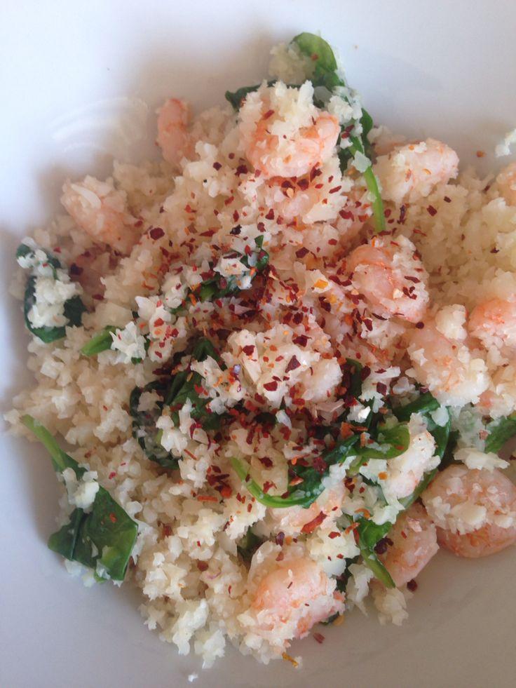 Prawns, cauliflower rice and spinach