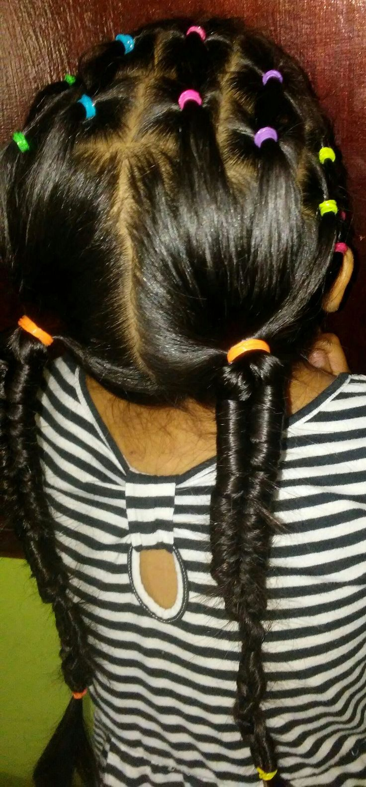 2 infinity braid ponytails   hairstyle added with some colorful elastics in the front. ❤