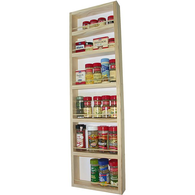 Perfect WG Wood Products Solid Wood Surface Mounted Kitchen Spice Rack With  Posterboard Back   Overstock™ Shopping   The Best Prices On Spice Racks