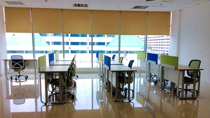 Yellow roller blinds in the office space fitted by us | Testimonials | Rimini Blinds | Testimonials | Rimini Blinds
