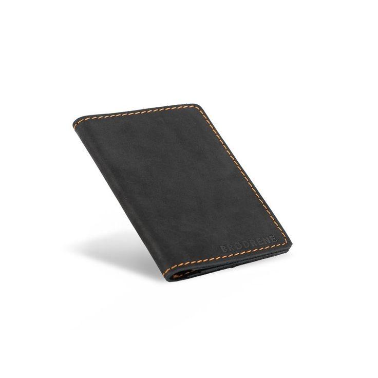 Skórzany cienki portfel slim wallet brodrene czarny