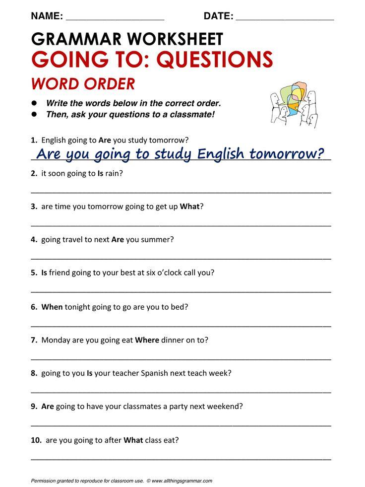 english grammar going to questions word order esl. Black Bedroom Furniture Sets. Home Design Ideas