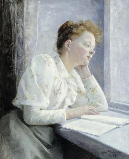 Woman reading at the window (1893). Anna Sahlstén (Finland, 1859-1931). Oil on canvas. Sahlstén belongs to the golden age of Finnish time painters. She began with realistic plein-air painting and naturalism, and gradually began to gain a foothold as a portrait painter.via books0977