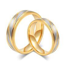LIN ESTÚDIO Clássico Anel de Casamento Para O Casal de Ouro De Noivado De Aço Inoxidável 316l Jóias CR-013(China (Mainland))