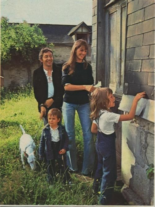 Jane Birkin and Serge Gainsbourg and her daughters Charlotte Gainsbourg and Kate Barry