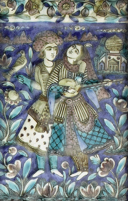♥ Three Qajar underglaze-painted moulded pottery Tiles   Persia, circa 1880.