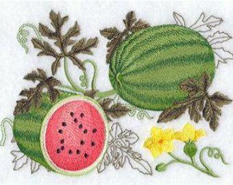 Botánico de sandía bordada toalla | Harina saco toalla | Toalla de lino | Toalla de plato | Toalla de cocina | Toalla de mano | Regalo para el jardinero
