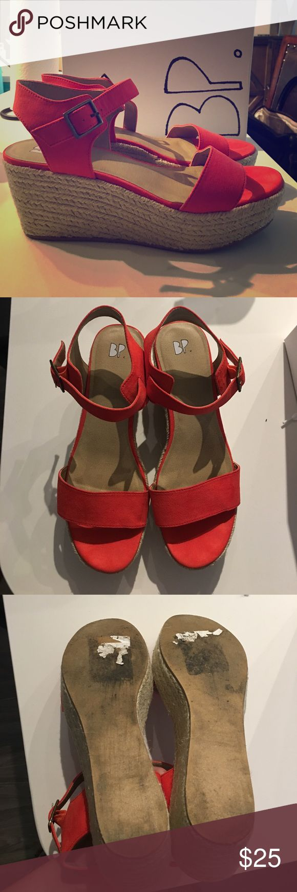 Adorable BP Red Suede Espadrille Wedges Adorable, like new BP red suede espadrille wedges. Worn twice. Shoes in perfect condition with light show of wear on bottom.  Comfortable!   Couple inch wedge with platform in front.  Original box from Nordstrom included. BP Shoes Espadrilles