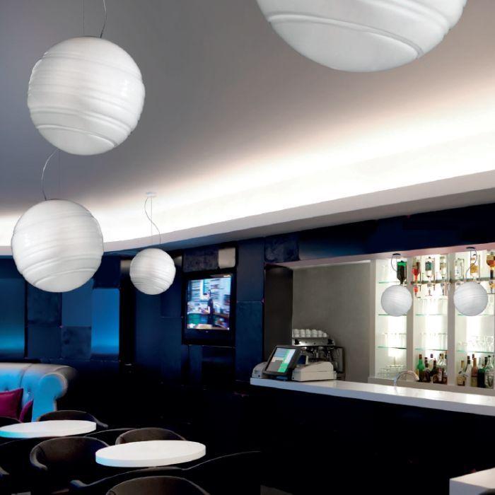 De Majo Stratosfera S40 medium white Murano glass globe pendant