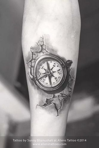 compass tattoo by sunny bhanushali at aliens tattoo tattoos. Black Bedroom Furniture Sets. Home Design Ideas