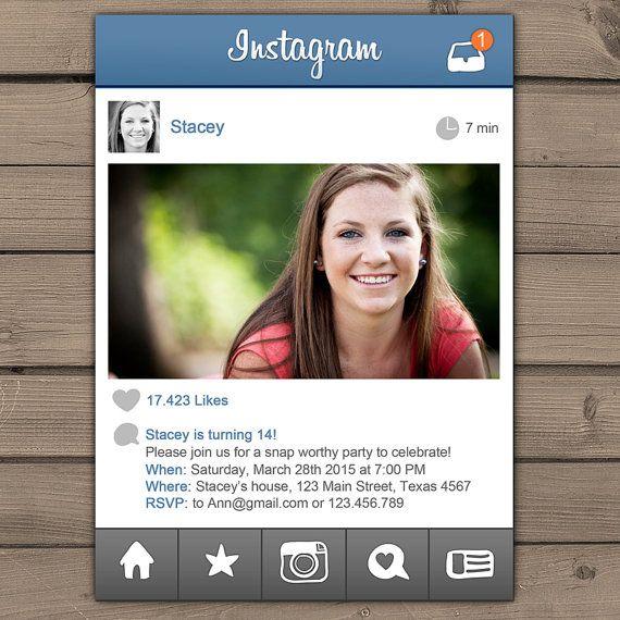 Hey, I found this really awesome Etsy listing at https://www.etsy.com/listing/219841458/instagram-birthday-invitation-teen