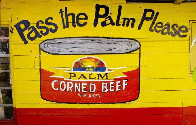 Palm Corned Beef, Tonga.     Hand painted advertisement for Corned Beef.