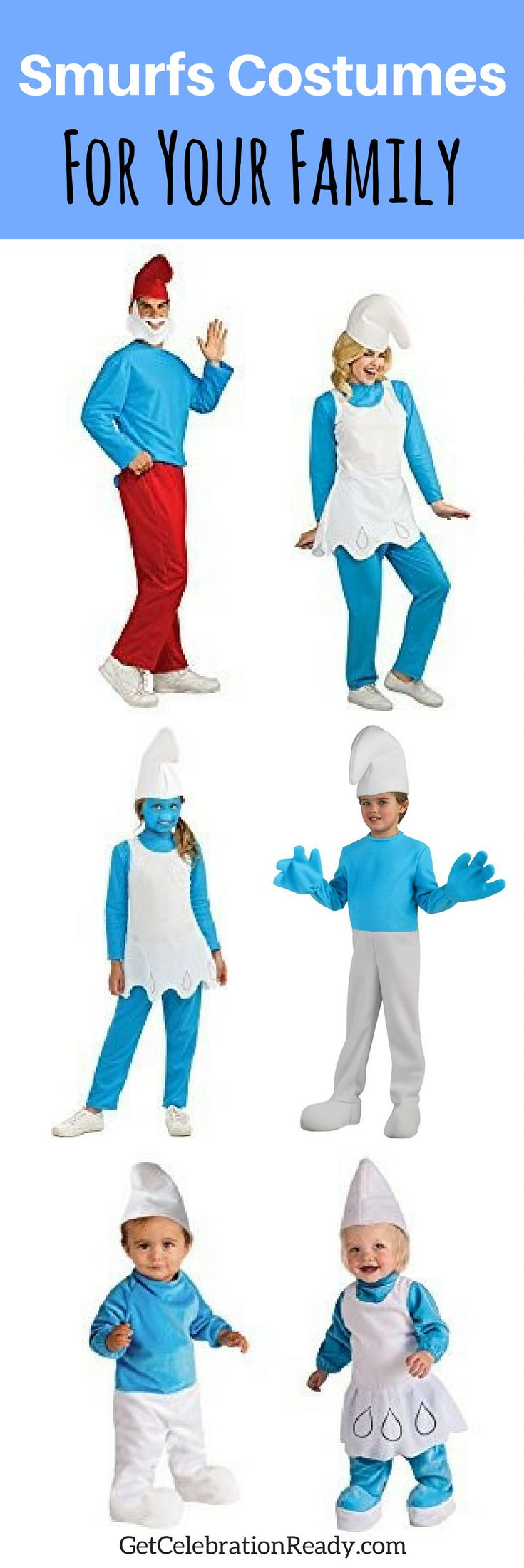 Smurfs costumes are great for groups or family. Smurfette is very popular this year but you can include all the other Smurfs too. Don't forget Papa Smurf! Smurfs are great for baby and toddler costumes too.