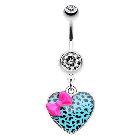 Fuchsia Bow Leopard Print Belly Dangle - Animal Print Body Jewellery. Find it at www.tummytoys.com.au