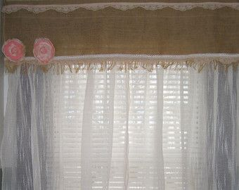 Burlap Kitchen Curtains for Sale | Handmade Burlap Lace Combination Wi ndow Curtain Drapes, Shabby Chic ...
