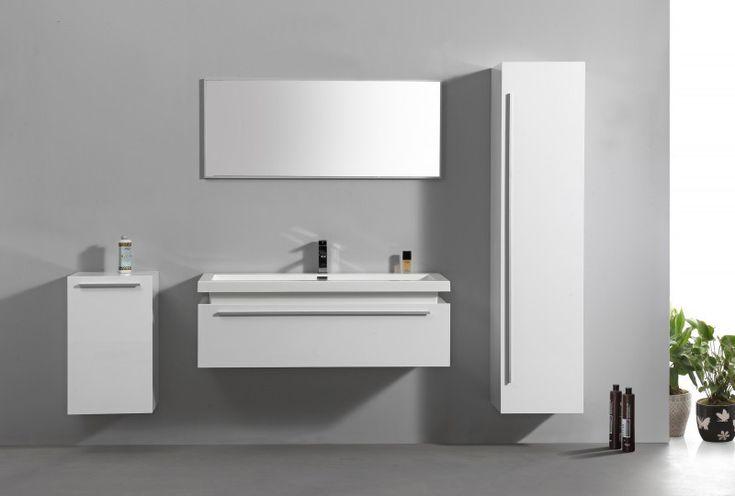 Badmöbel-Set N1200 Weiß - Spiegel und Seitenschränke optional günstig online kaufen