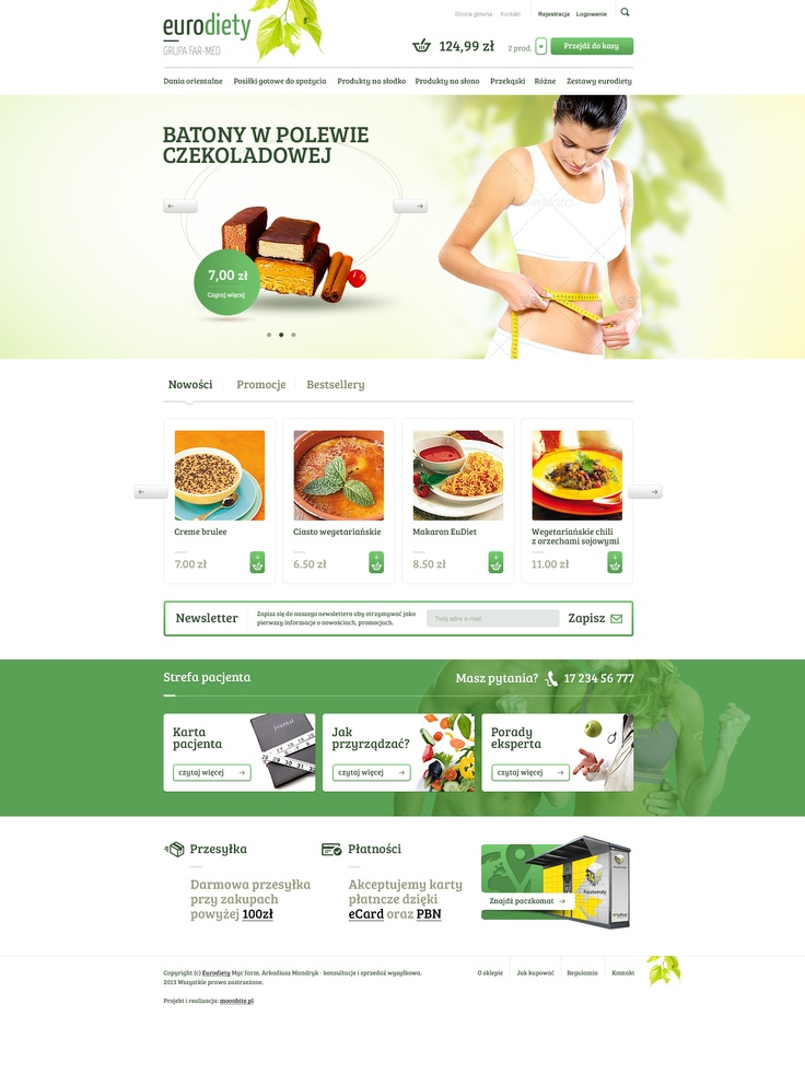 Ecommerce design for Diet Food/Fitnes Recipes Meals