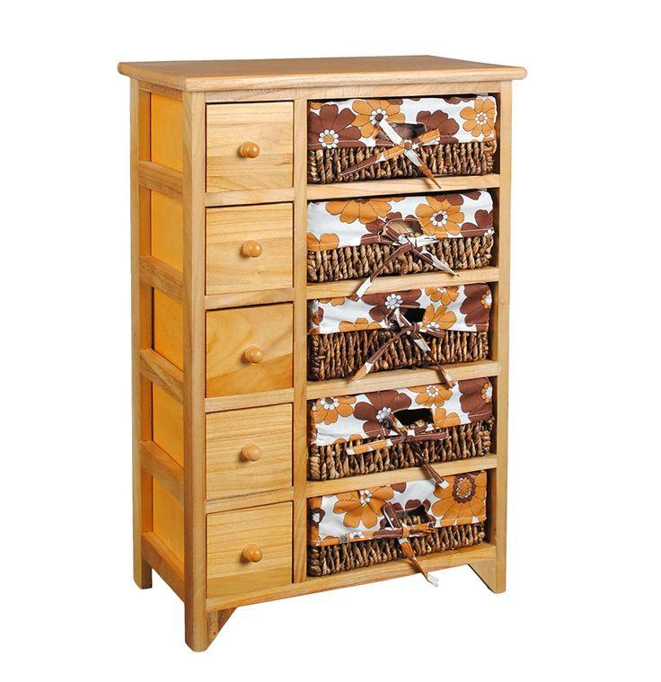 Cómoda marrón estilo retro 70s con 5 cajones y 5 cestas con tela de flores naranja y marrón: Amazon.es: Hogar