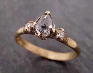 Fancy cut Salt and Pepper Diamond Engagement 18k Yellow Gold Multi stone Wedding Ring Stacking Rough Diamond Ring byAngeline 1961