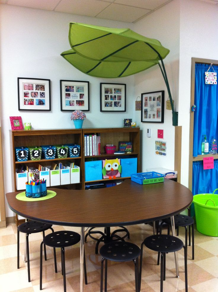 Guided Math Area-I love the leaf tent above the table and the shelves are so organized and tidy.
