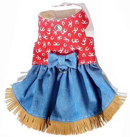 Western Red Horseshoe and Denim Harness Dog Dress - For my next girl dog!  So excited!!