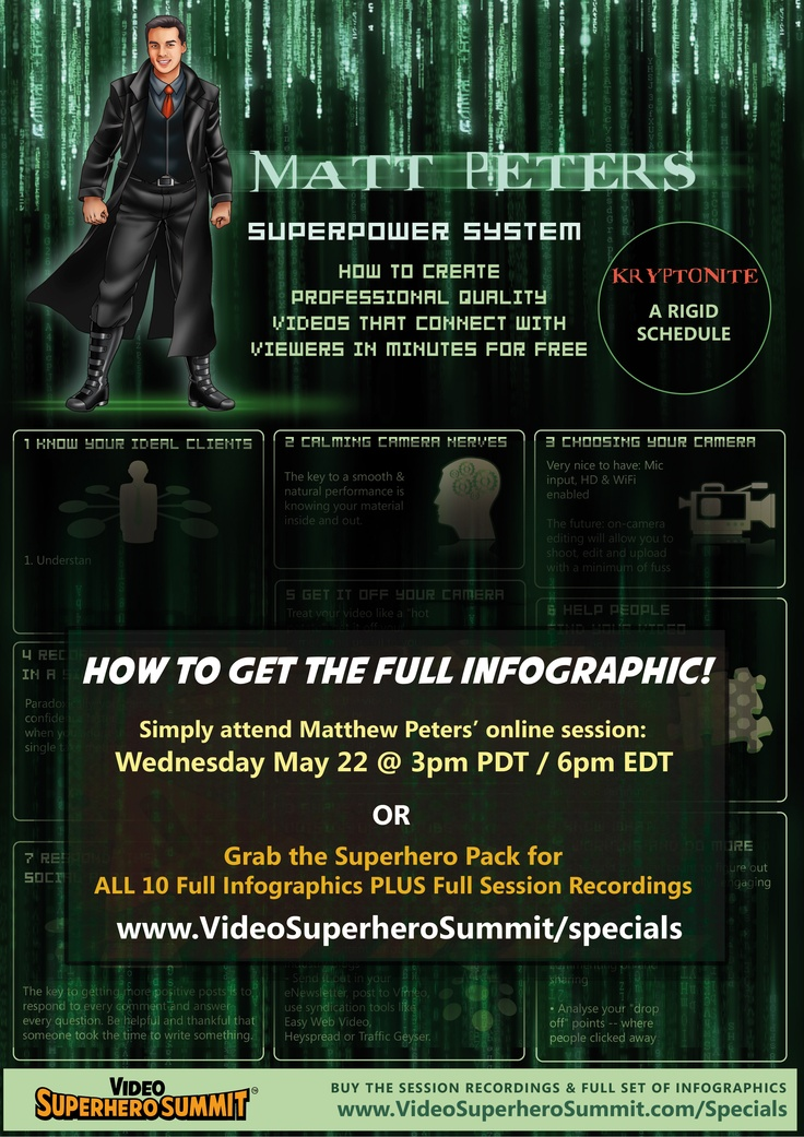 Matt Peters will tell you how to create professional quality videos that connect with viewers in minutes for free! It all happens at the Video Superhero Summit. Learn more at http://www.videosuperherosummit.com