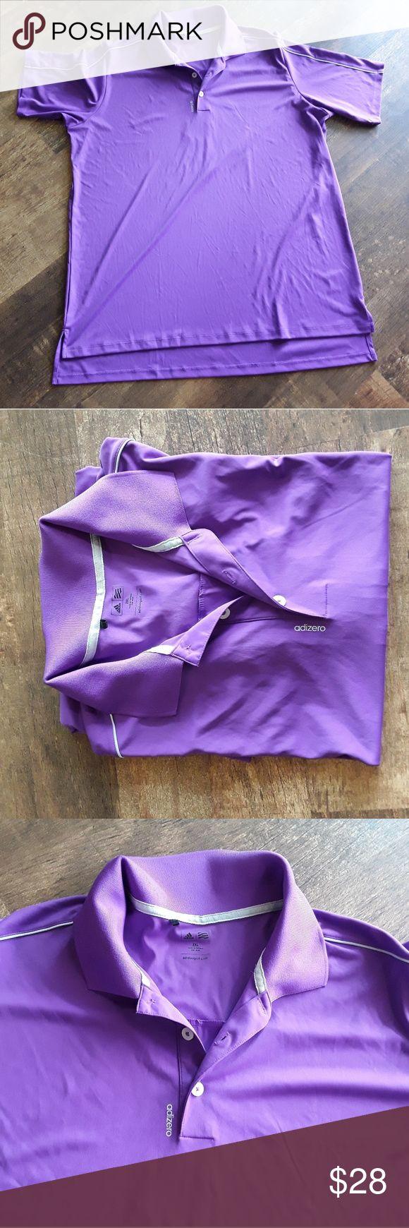 Adidas  golf aside to men performance polo shirts Purple polyester short sleeve polo. No holse. No spot. Non smoking house. Very nice color. adidas Shirts Polos