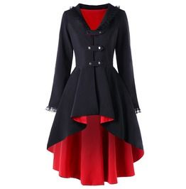 Vintage Gothic Lace Up Back V Neck Asymmetric Overcoat Winter Trench Coat
