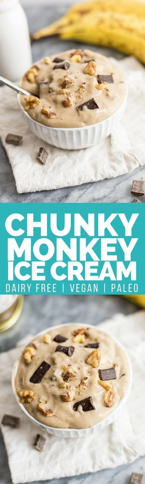 This homemade chunky monkey ice cream is the perfect sweet treat! Vegan, dairy free, and has a paleo option as well! No ice cream maker required! #vegan #dairyfree #icecream #paleo