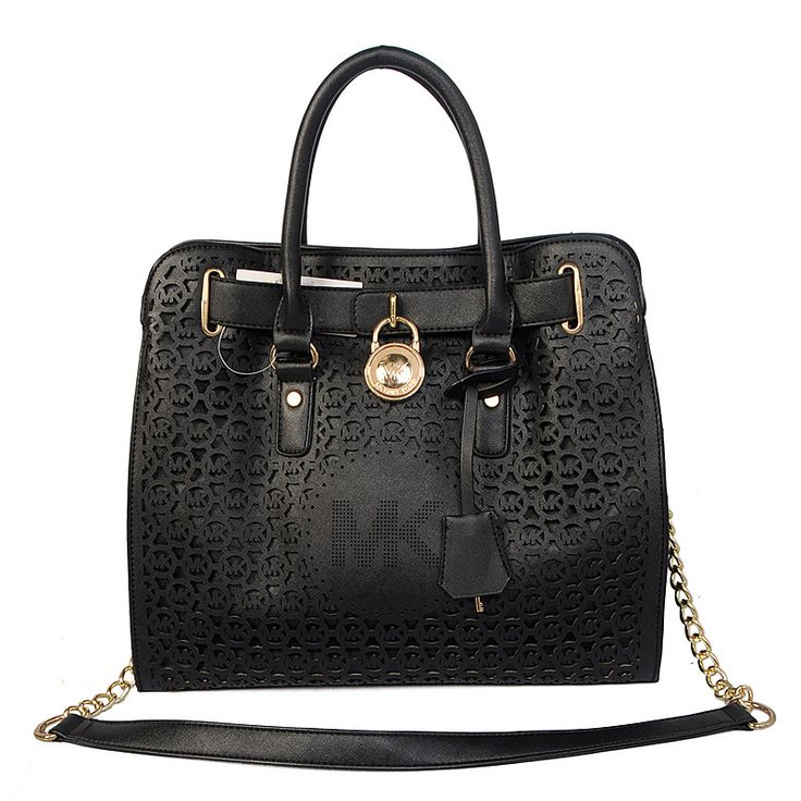 Michael Kors Hamilton Perforated Big Logo Large Black Totes only $71.99