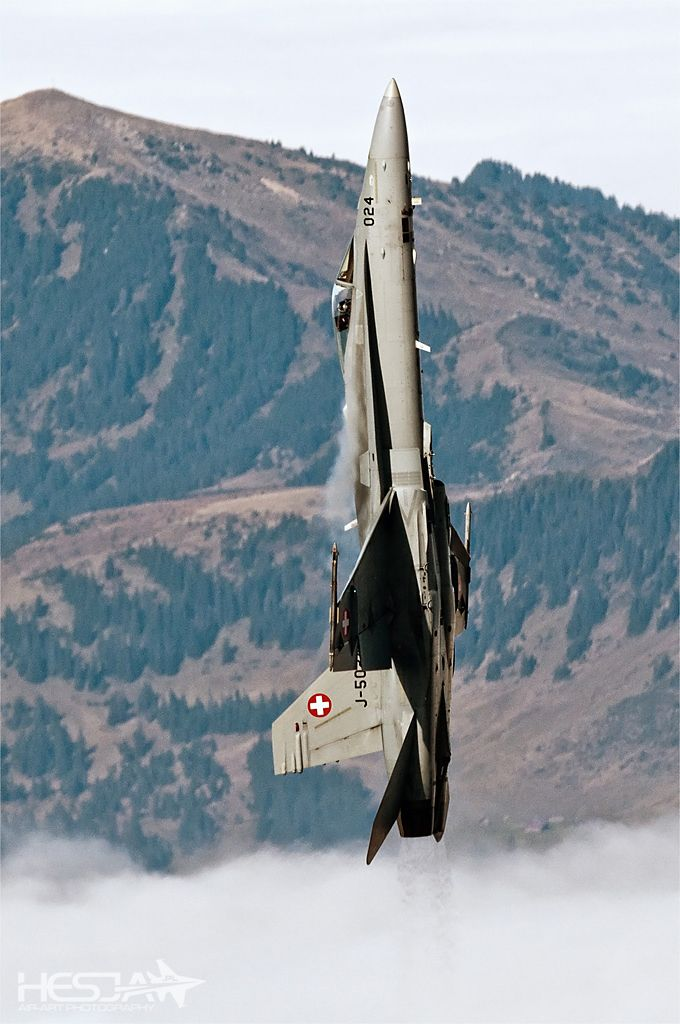18 Going On 18 Here Are The Interesting Bits: Swiss Air Force F-18 Hornet Going Vertical