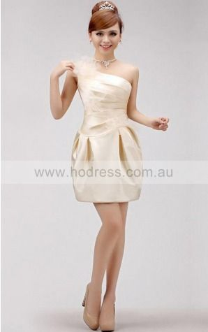 Satin One Shoulder Natural Sheath Bridesmaid Dresses 0190977--Hodress