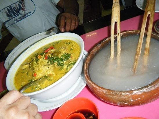Moluccan: Papeda (made from sago, the glue-like substance) and Pindang Kuning (Fish soup). Mix it and enjoy real Melanesian food.