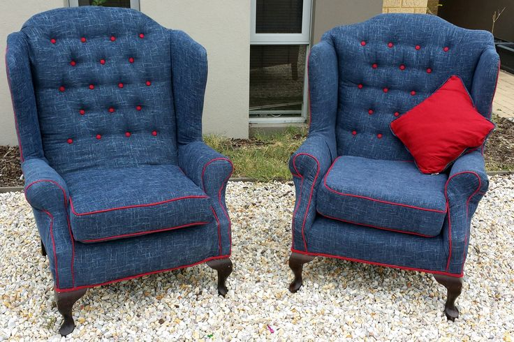 I upholstered these two chairs for Alex...