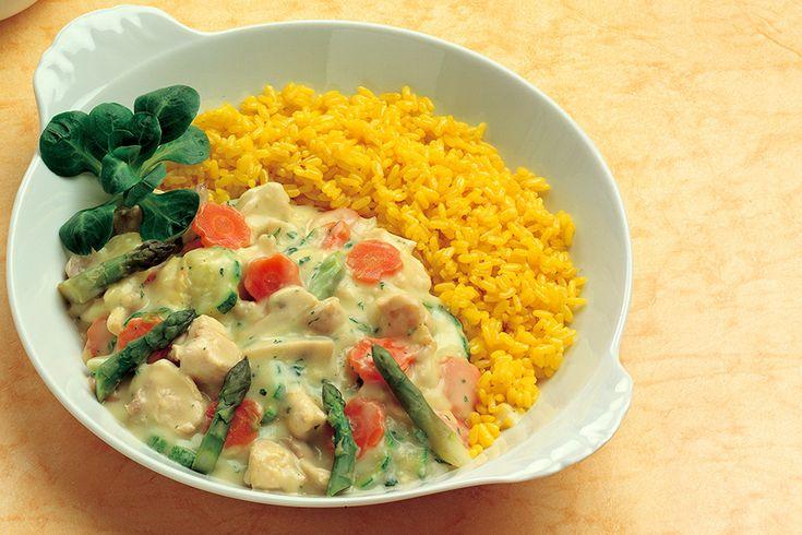 Bianchetto di coniglio e verdure con riso pilaf