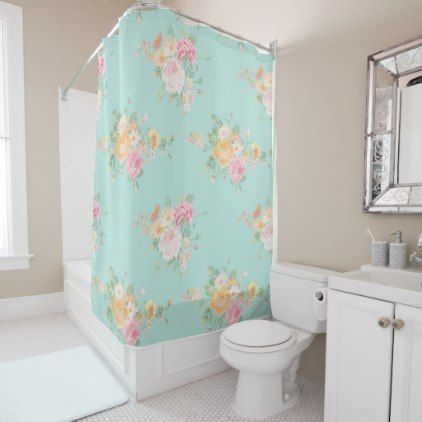 beautiful mintshabby chic country chic floral shower curtain - shower curtains home decor custom idea personalize bathroom