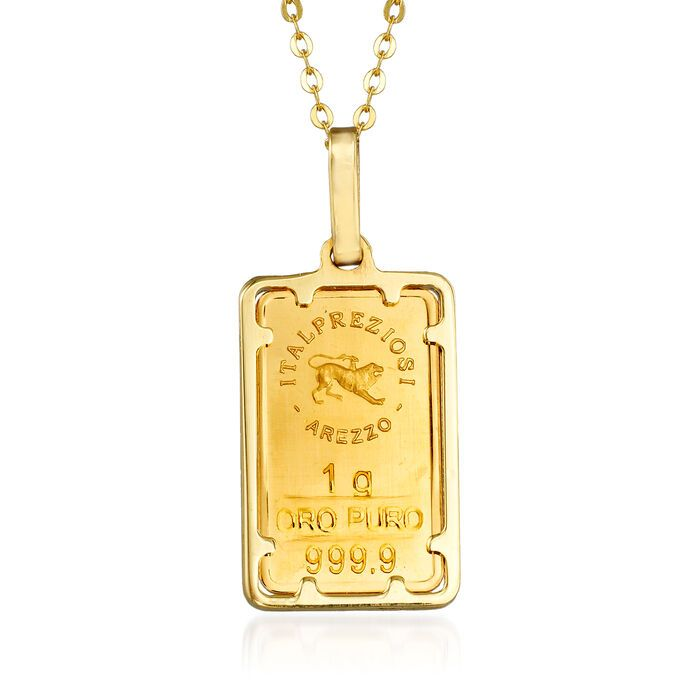 Italian 24kt Yellow Gold And 14kt Yellow Gold One Gram Ingot Bar Pendant Necklace Ross Simons In 2020 Bar Pendant Necklace Bar Pendant Yellow Gold Pendants