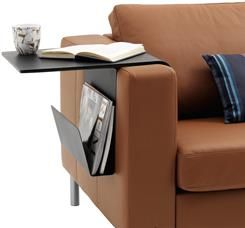 Tray, black-stained oak veneer. And Magazine holder, matt black lacquered. Adjusts to fit to the arm of your sofa.