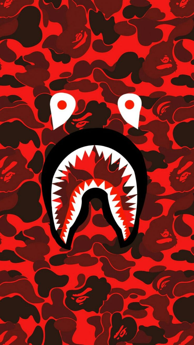 Bape shark face red camo Bape wallpapers, Bape shark