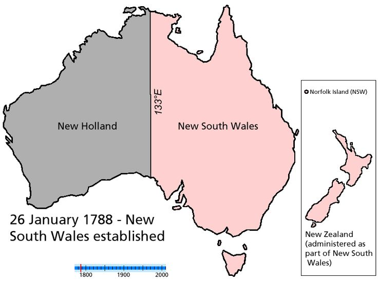 History of Australia, in a map on a .gif