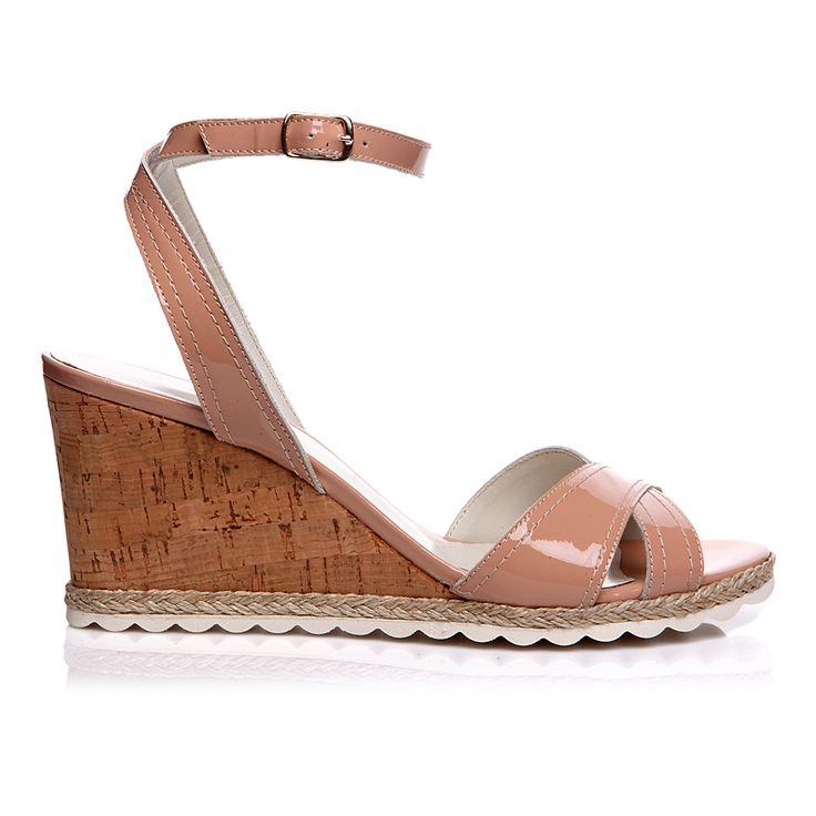 Code: 652B05 Heel height: 7 cm www.mourtzi.com #wedge #nude #sandal #midheels #office_shoes