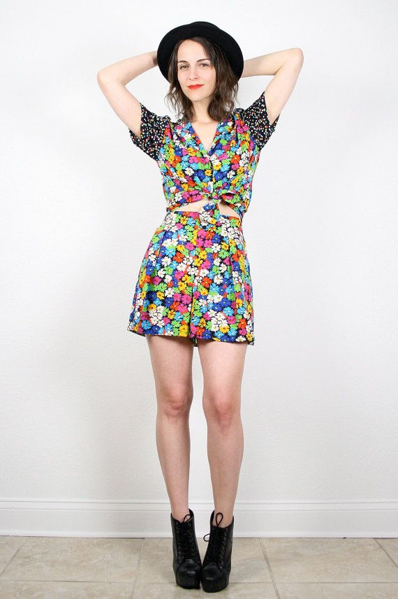 Vintage 90s Outfit Two Piece 2 Piece Set Floral Print Polka Dot Rainbow Black and White High ...