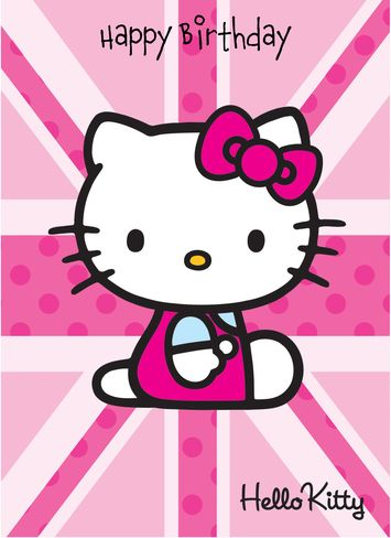Good Personalised Birthday Greeting Card   Hello Kitty Union Jack Happy Birthday    Hello Kitty   Personalised