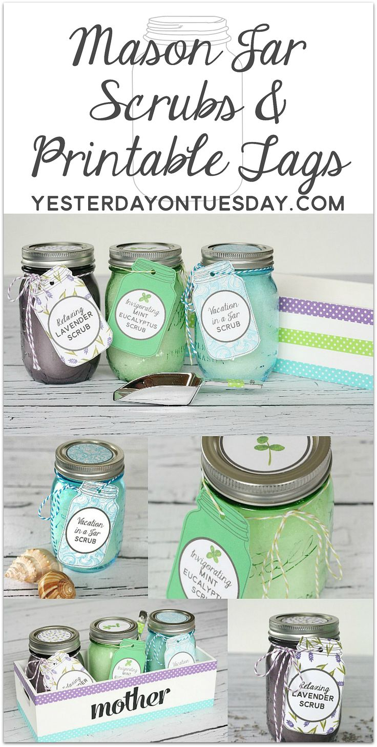 Lovely printable Mason Jar Tags and Lid Circles to coordinate with three  easy and wonderful DIY scrubs that you can store in Mason Jars.
