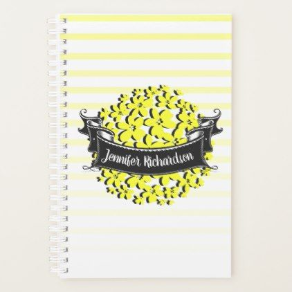 Yellow and White Stripes Daisy Flower Personalized Planner - floral style flower flowers stylish diy personalize