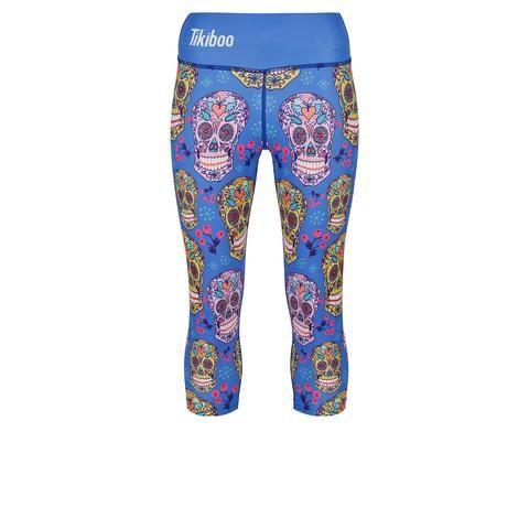 Tikiboo Blue Sugar Skulls Capri #Activewear #Gymwear #FitnessLeggings #Leggings #Tikiboo #Running #Yoga